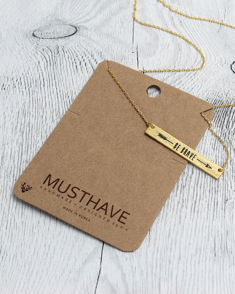 BE BRAVE Bar Dainty Pendant Card Necklace
