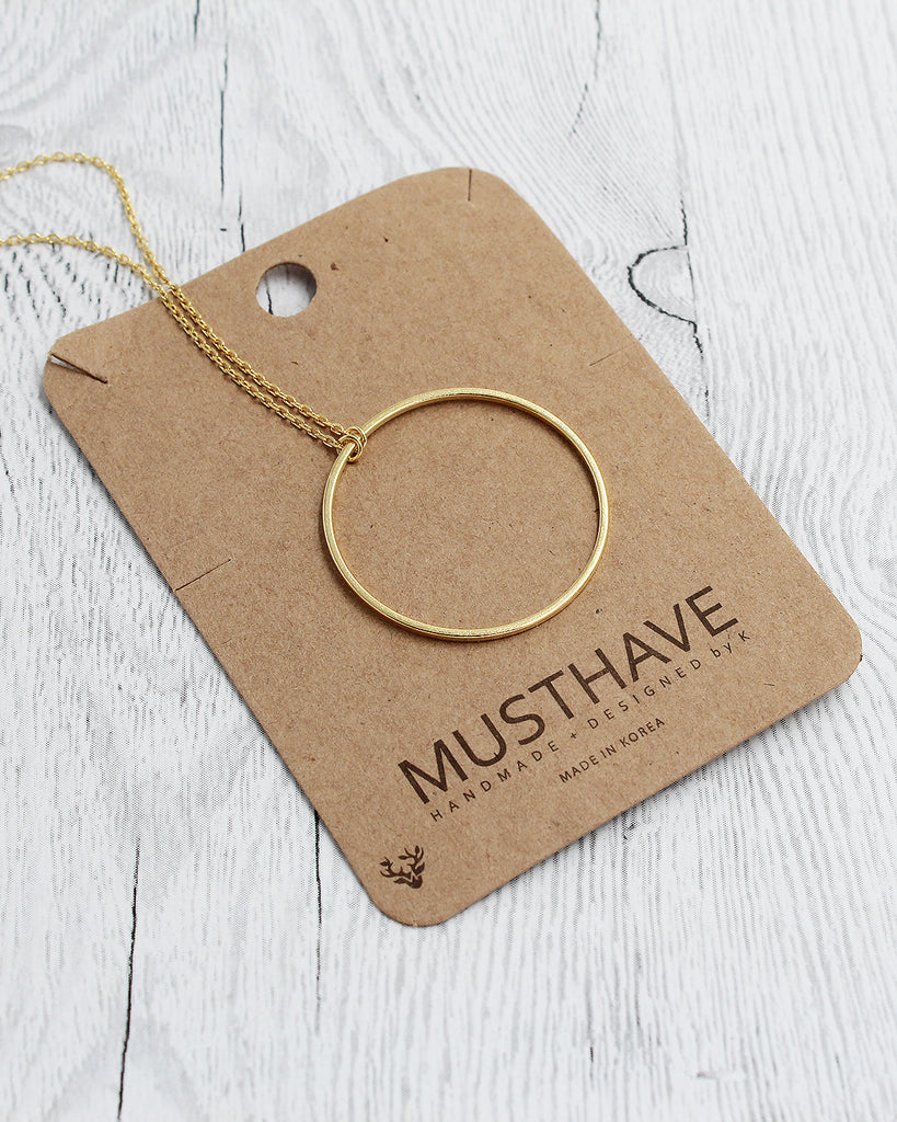 Circle Dainty Pendant Card Necklace