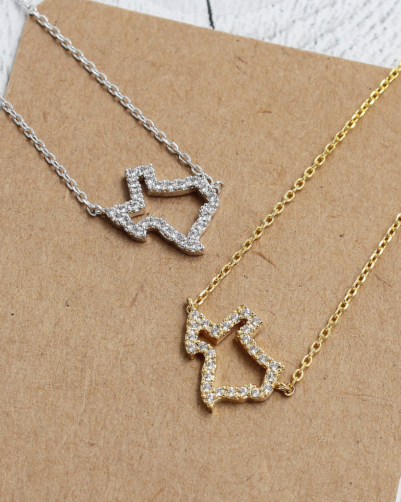 Rhinestone Texas Map Dainty Pendant Card Necklace