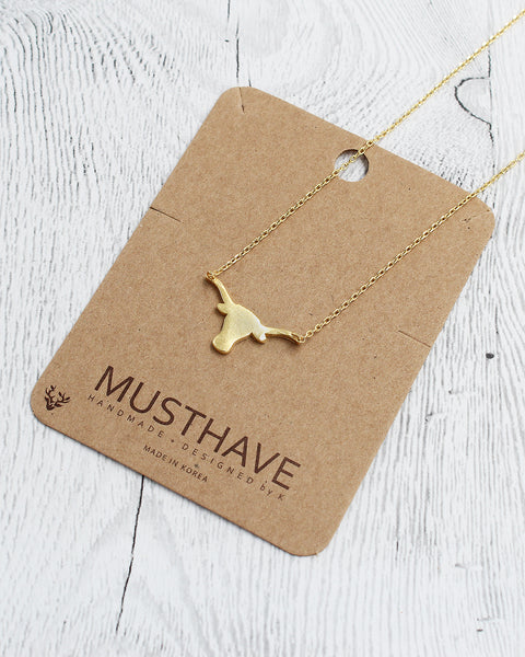 Texas Long Horn Dainty Pendant Card Necklace