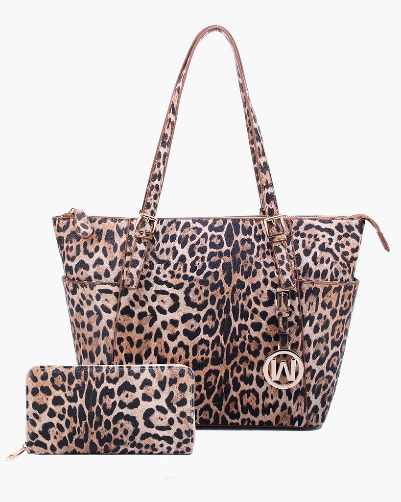 Leopard Print Medium Tote with Matching Wallet
