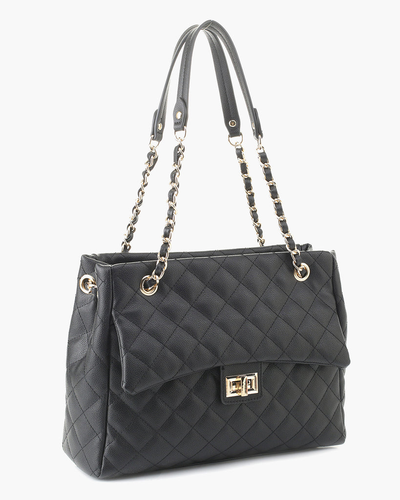 Quilted Embossed Gold Chain Bag