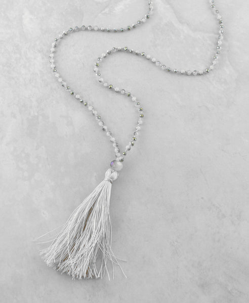 Beaded Tassel Necklace - Sam Moon - 1