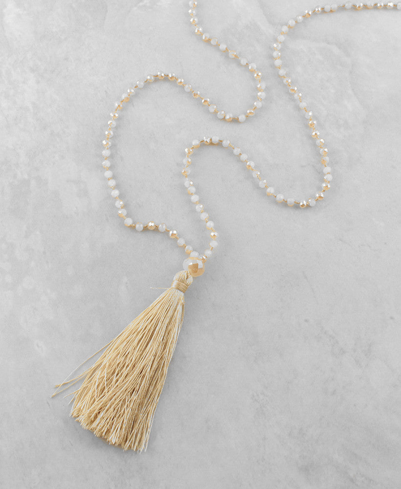 Beaded Tassel Necklace - Sam Moon - 2