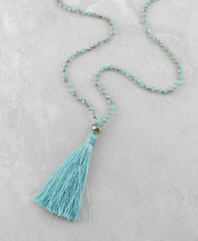 Beaded Tassel Necklace - Sam Moon - 3