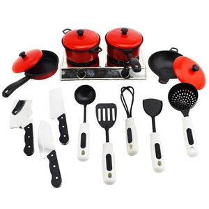 13pcs Kitchen Toys Set Mini Kitchenware Tableware Utensils Pots Stove Cooking Food Fun Cookware for Kids
