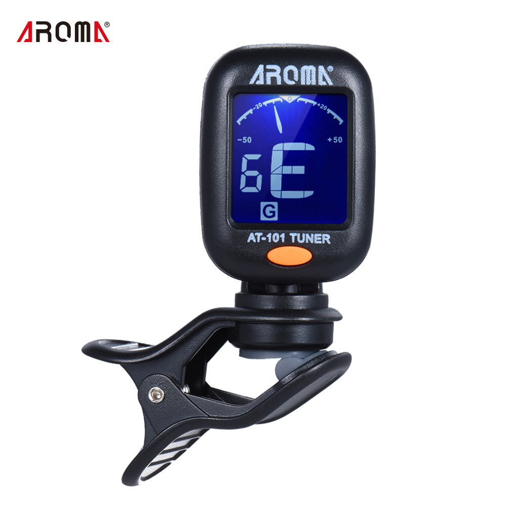 AROMA AT-101 Portable Mini Clip-on Digital Tuner with Foldable Rotating Clip High Sensitivity for Chromatic Guitar Bass Violin Ukulele