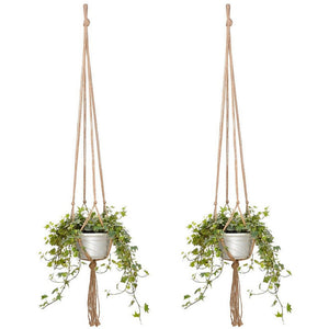 2PCS 47 Inches Plant Flower Hanger Macrame Jute for Indoor Outdoor Ceiling Deck Balcony Round and Square Pots