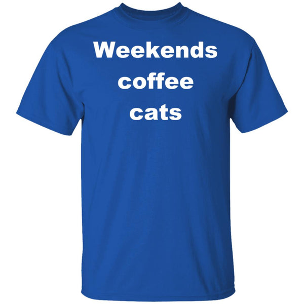 Royal Blue Cat T-Shirt - Weekends Coffee Cats