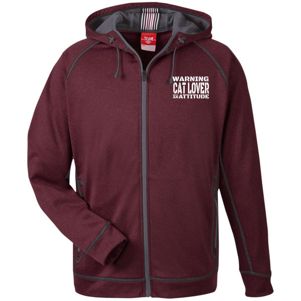 Maroon Warning Cat Lover With An Attitude Hooded Jacket