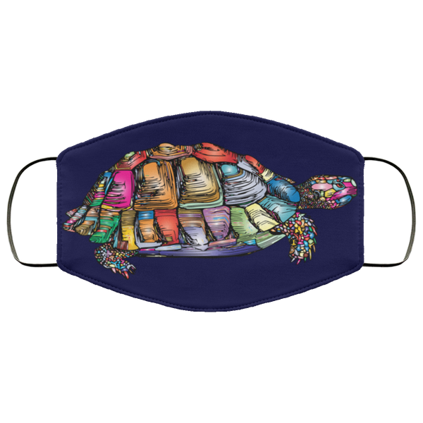 Colorful Turtle Art Face Mask navy blue