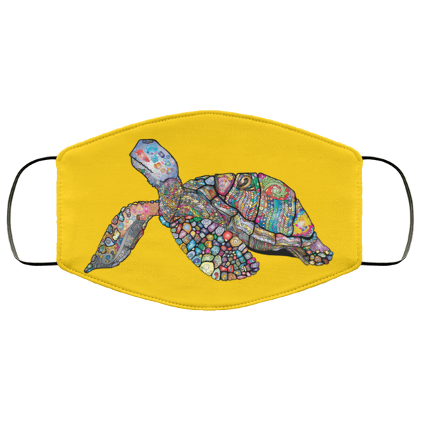 Colorful Sea Turtle Print Face Mask gold