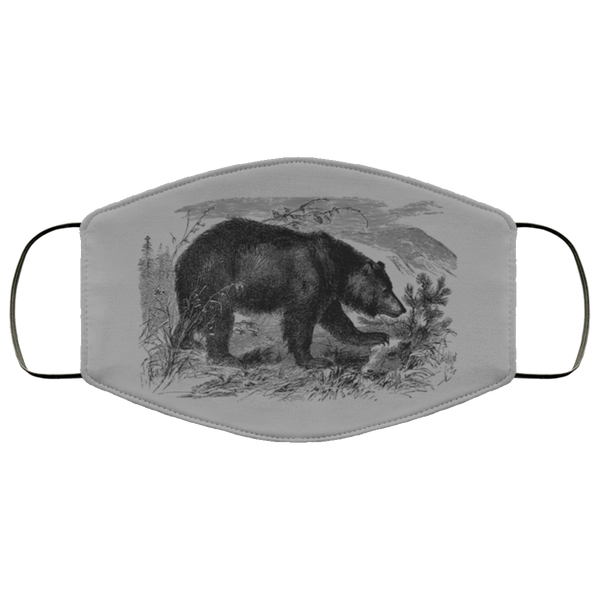 bear pencil art face mask gray