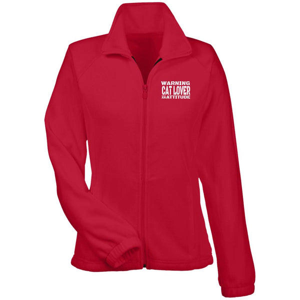 Red Warning Cat Lover With An Attitude Fleece Jacket
