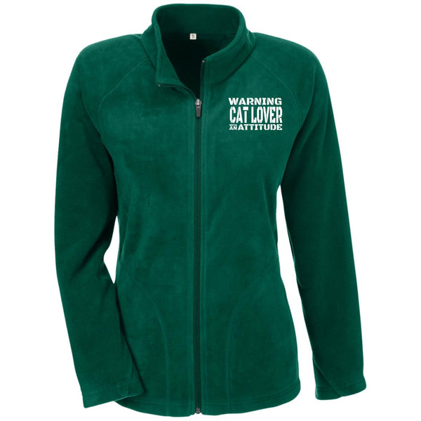 Green Warning Cat Lover With An Attitude Microfleece