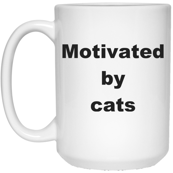 15 oz white Ceramic Cat Mug - Motivated By Cats