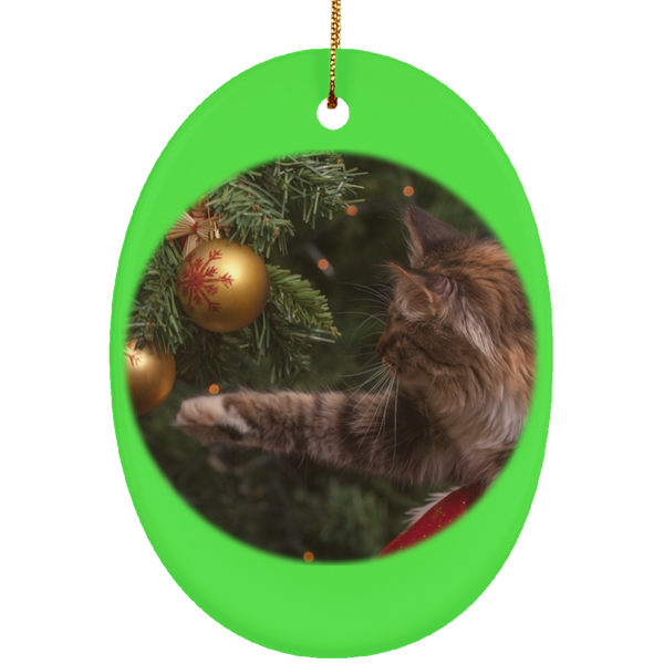 Oval Green Ceramic Cat Christmas Ornament - Cat Christmas Tree Ornament - Cat Ceramic Ornament
