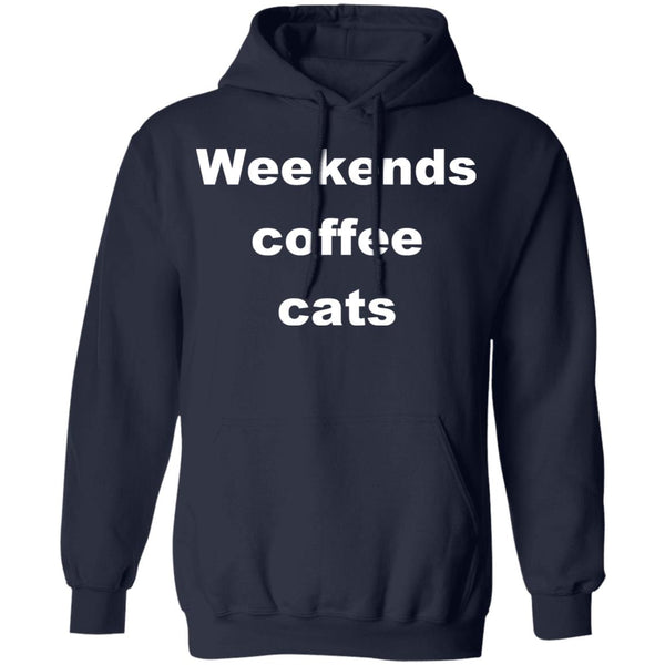 Navy Cat Pullover Hoodie - Weekends Coffee Cats