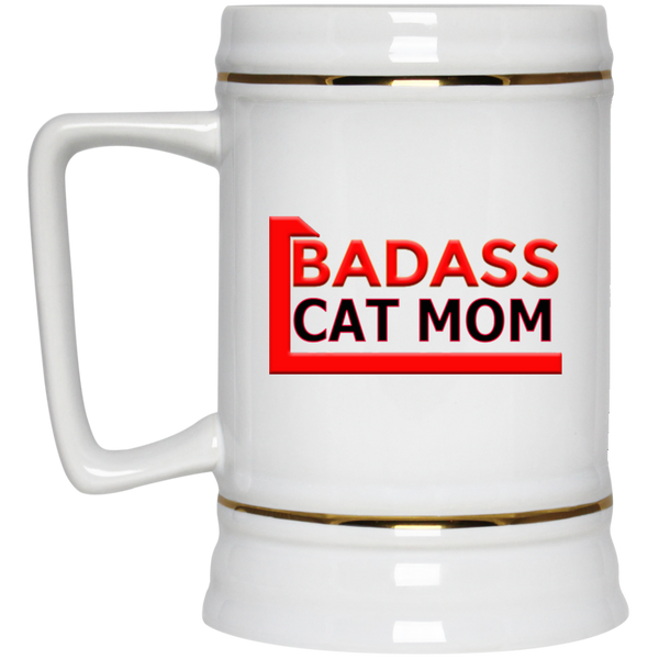 22 oz White Cat Lovers Beer Mug - BadAss CAT MOM Assorted Drinkware