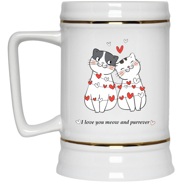 22 oz white Cat Lovers Valentines Gift I Love You Meow And Purrever