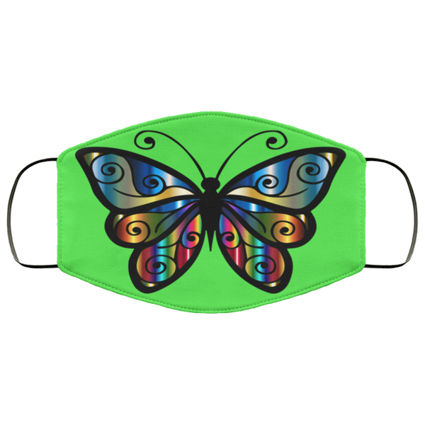 abstract butterfly print face mask kelly green