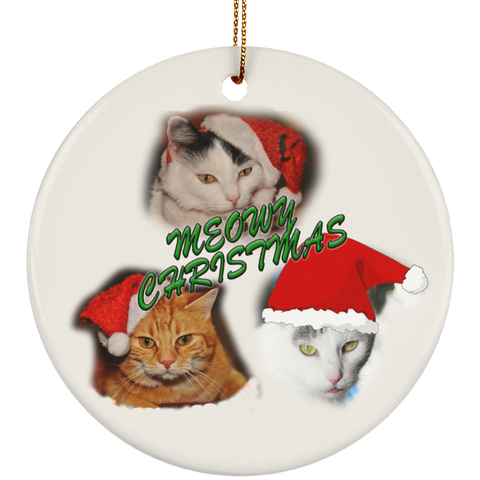 White Round meowy christmas ornament