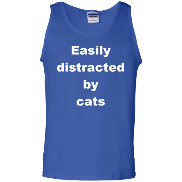 Royal Blue Funny Cats Tank Top - Easily Distracted By Cats