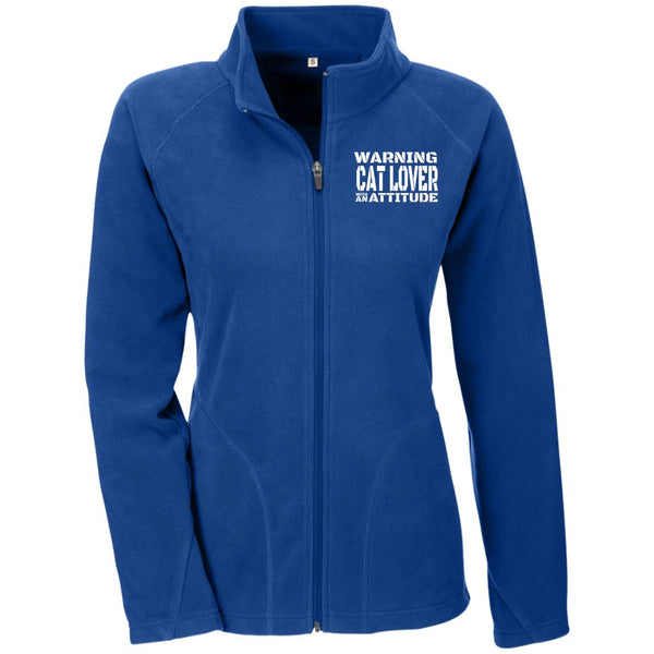 Royal Blue Warning Cat Lover With An Attitude Microfleece
