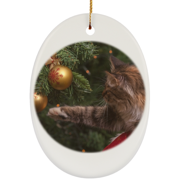 Oval White Ceramic Cat Christmas Ornament - Cat Christmas Tree Ornament - Cat Ceramic Ornament