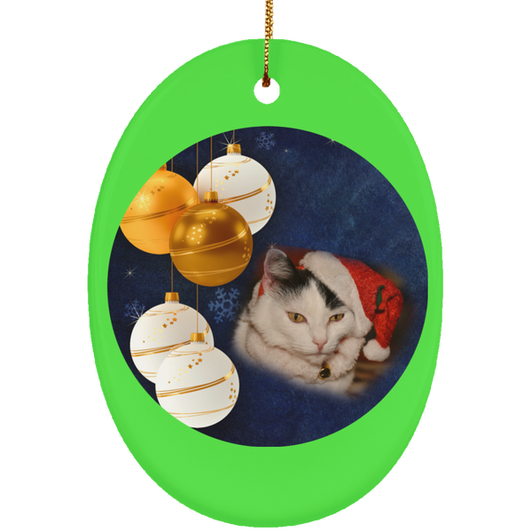 Oval green Cat Christmas Ornament