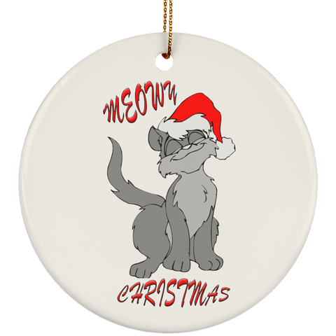 White Round gray cat christmas ornament