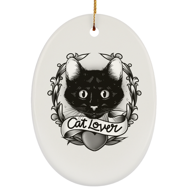 Oval White Ceramic Ornament For Cat Lovers