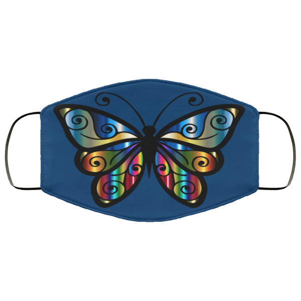 abstract butterfly print face mask royal blue