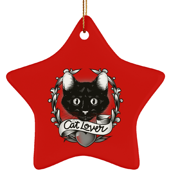 Star Red Ceramic Ornament For Cat Lovers