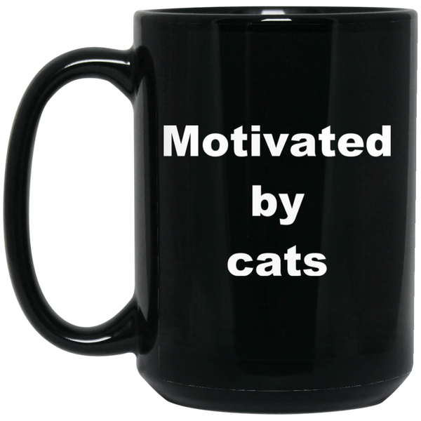 15 oz black Ceramic Cat Mug - Motivated By Cats