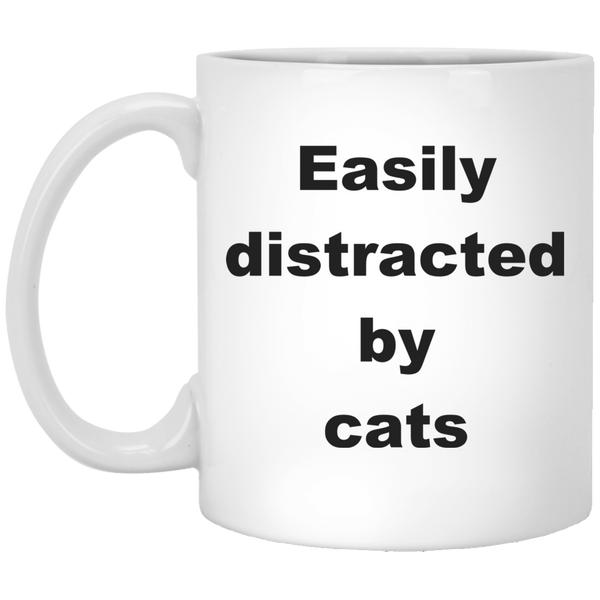 11 oz white Cat Mug Easily Distracted By Cats