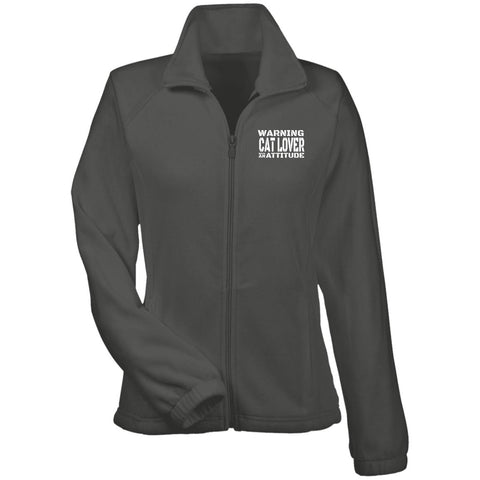 Grey Warning Cat Lover With An Attitude Fleece Jacket