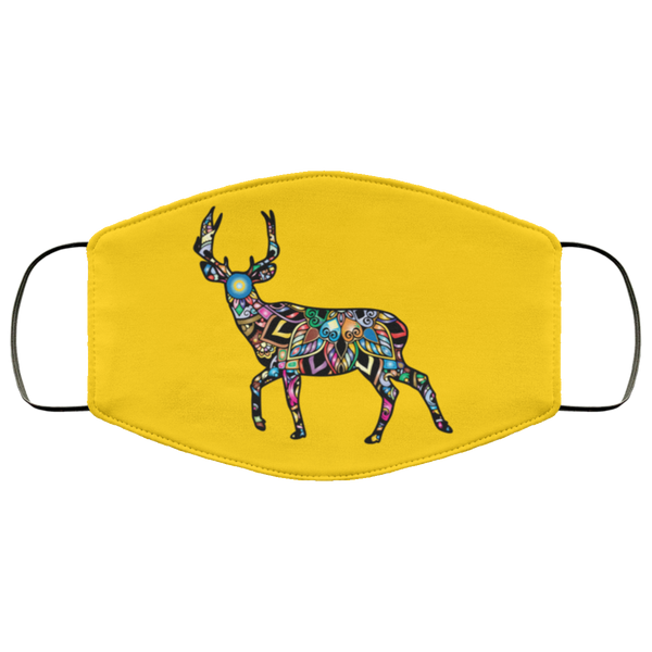 colorful deer print face mask gold