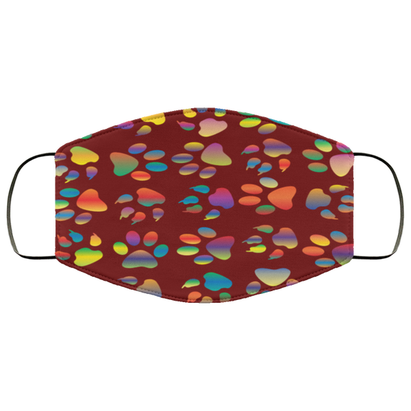 Colorful Paw Prints Face Mask maroon