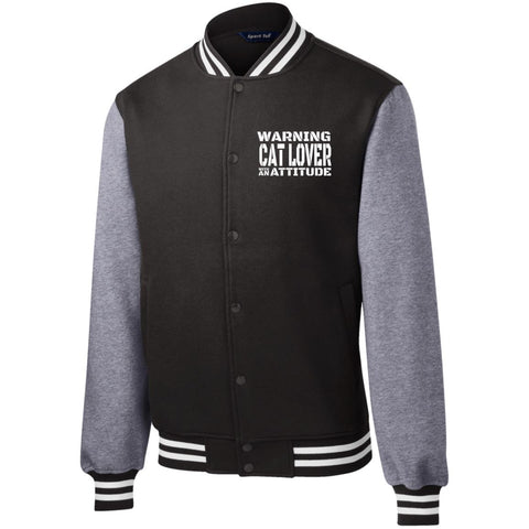 Black Warning Cat Lover With An Attitude Fleece Letterman Jacket