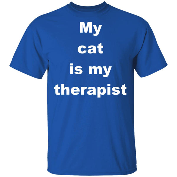 Royal Blue Cat Tshirt - My Cat Is My Therapist