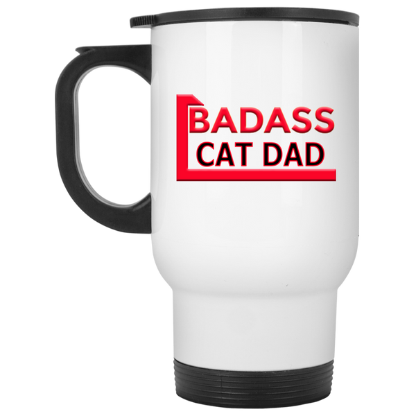 14 oz White Cat Travel Mug Badass Cat Dad