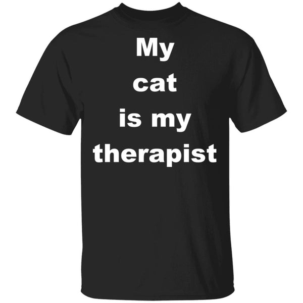 Black Cat Tshirt - My Cat Is My Therapist