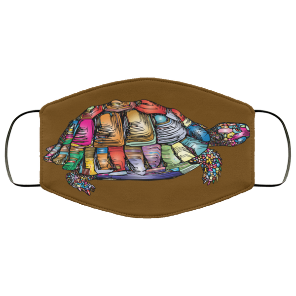 Colorful Turtle Art Face Mask brown