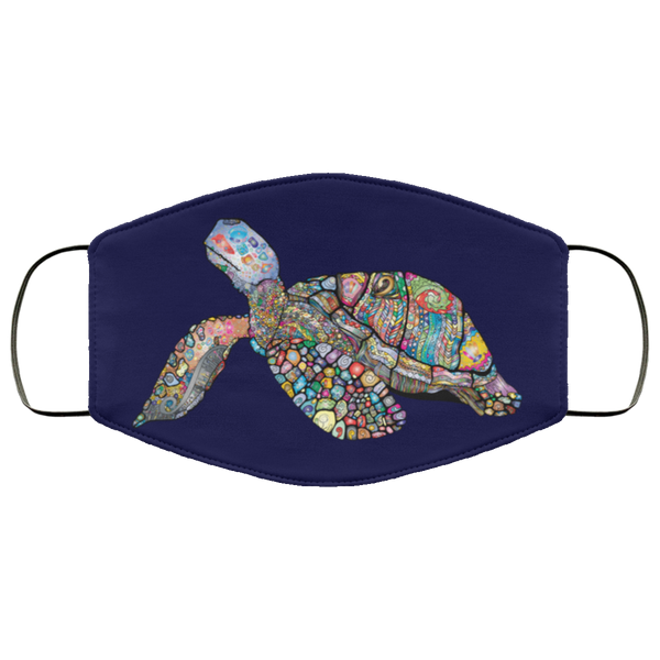 Colorful Sea Turtle Print Face Mask navy blue