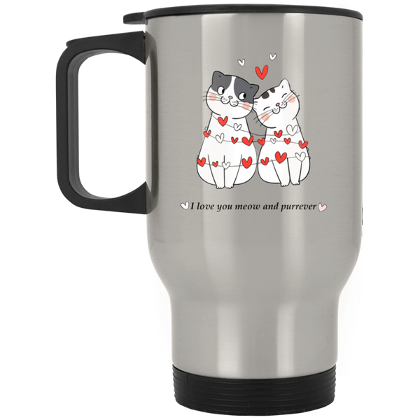 14 oz silver Cat Lovers Valentines Gift I Love You Meow And Purrever