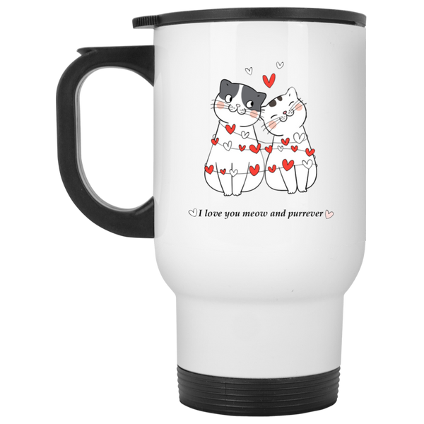 14 oz white Cat Lovers Valentines Gift I Love You Meow And Purrever