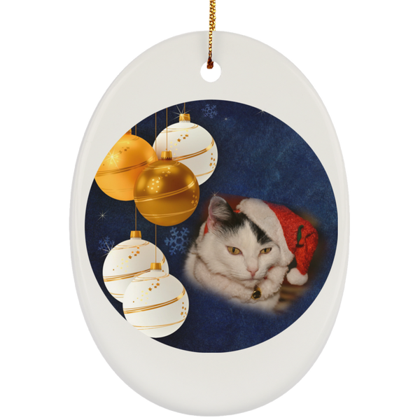 Oval white Cat Christmas Ornament