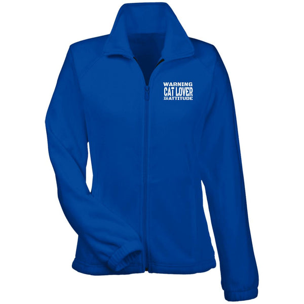 Royal Blue Warning Cat Lover With An Attitude Fleece Jacket