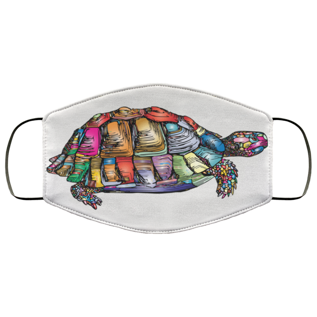 Colorful Turtle Art Face Mask white